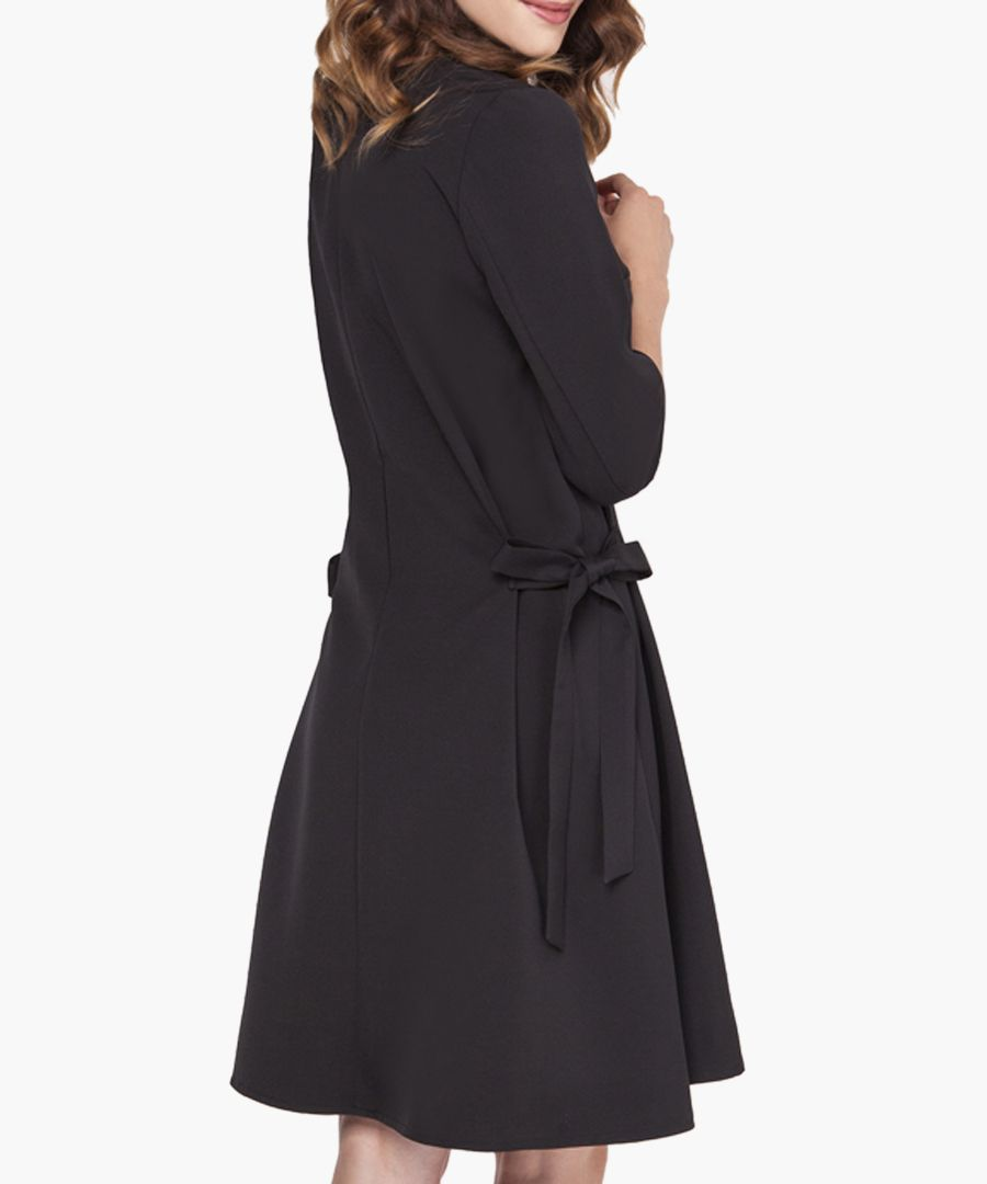 Black side tie V-neck dress
