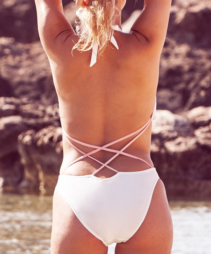 White cut-out swimsuit