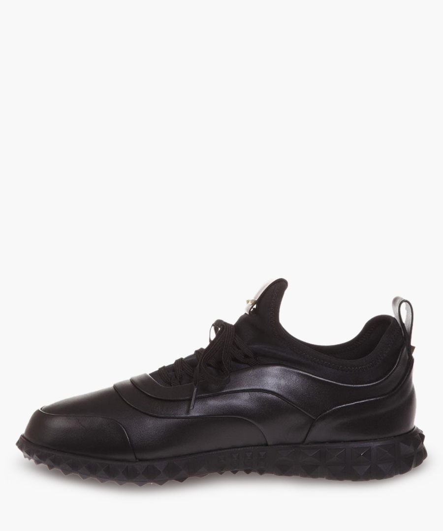 Black leather lace-up sneakers