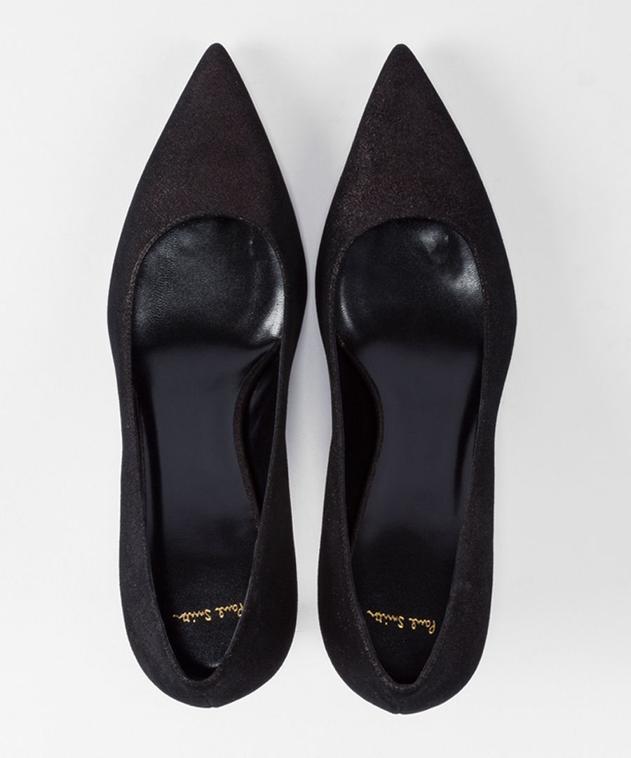 Black leather pointed kitten heels