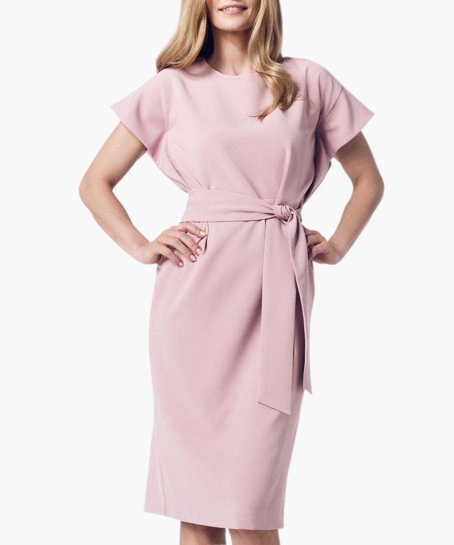 Light pink short sleeve tie-waist dress