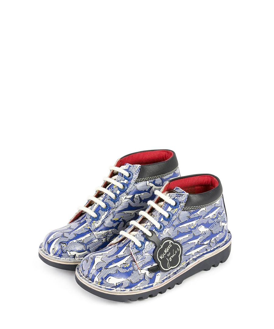 Kids blue leather lace-up boots