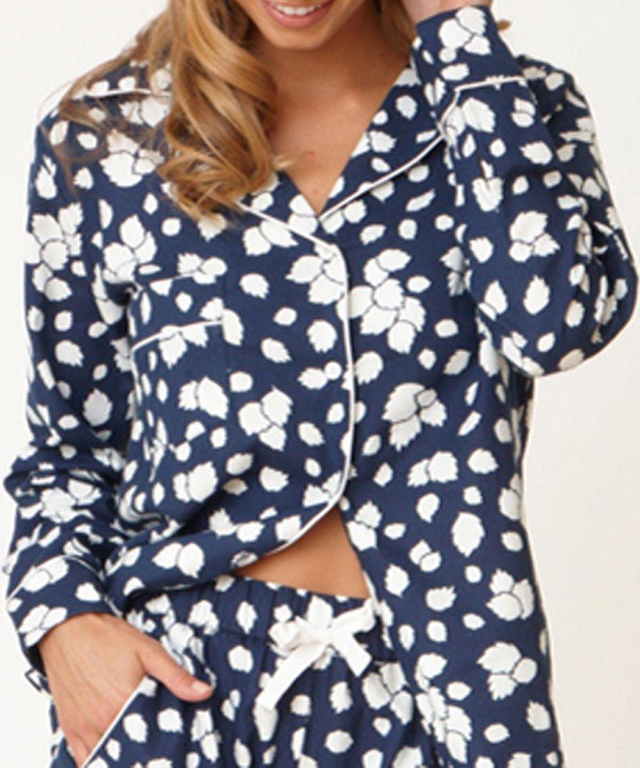Navy blue pure cotton leafy pyjama shirt