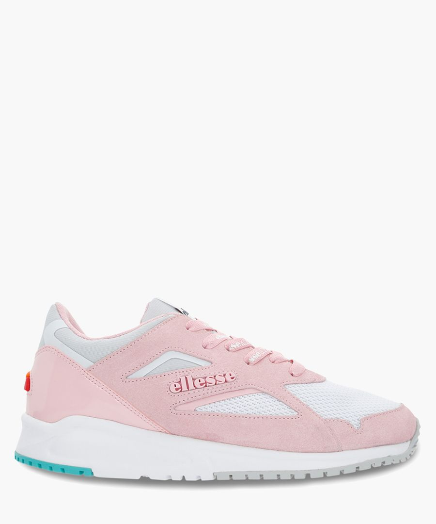Pink suede logo trainers