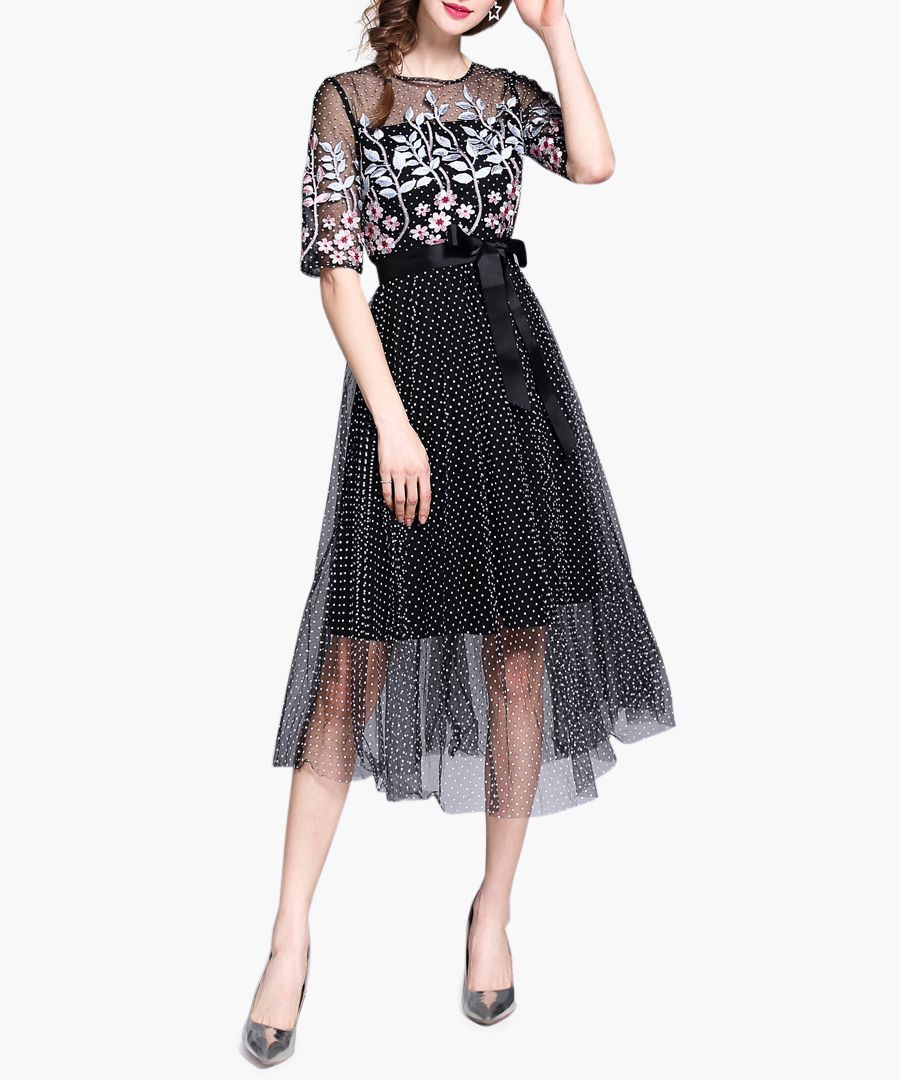 Black spotty mesh overlay midi dress