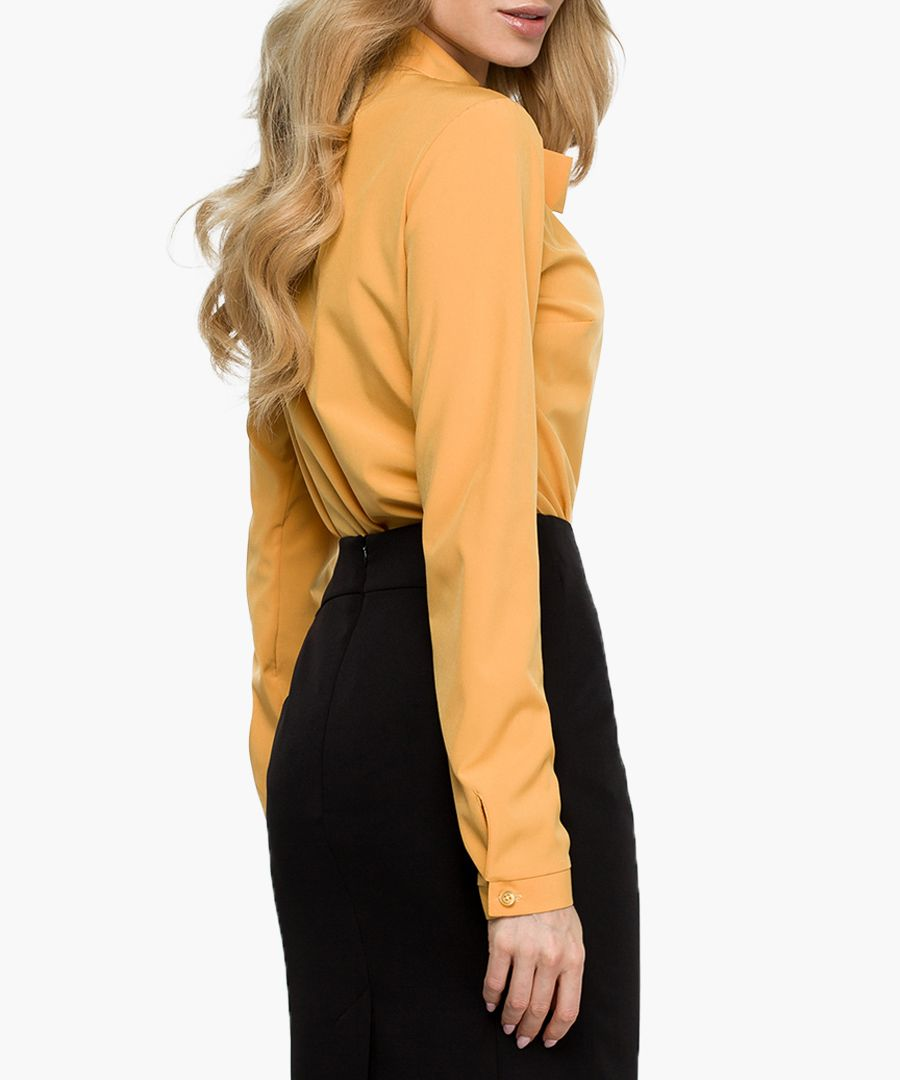Yellow ochre pussybow blouse
