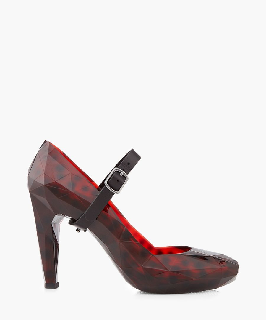 Lo Res burgundy rubber faceted heels