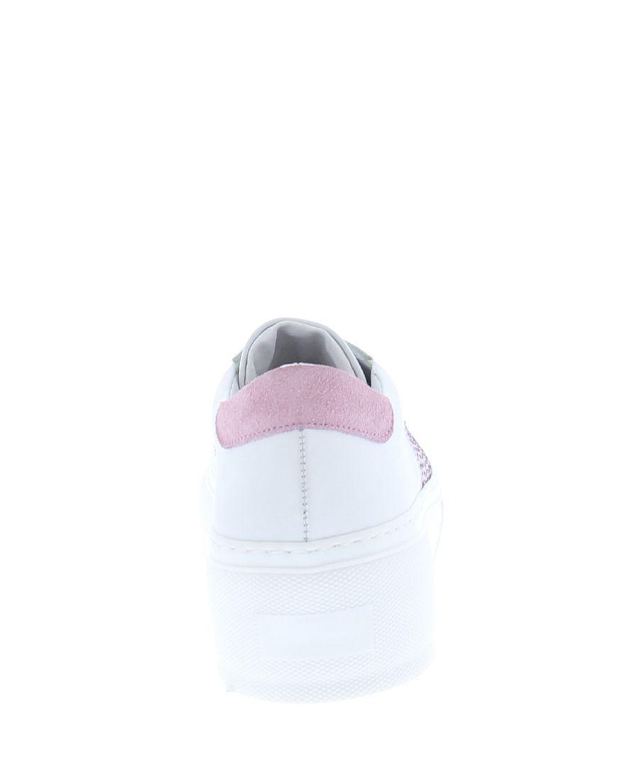 BsaharX white & pink stripe sneakers