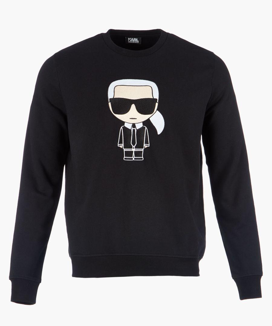 Black logo motif long sleeved jumper