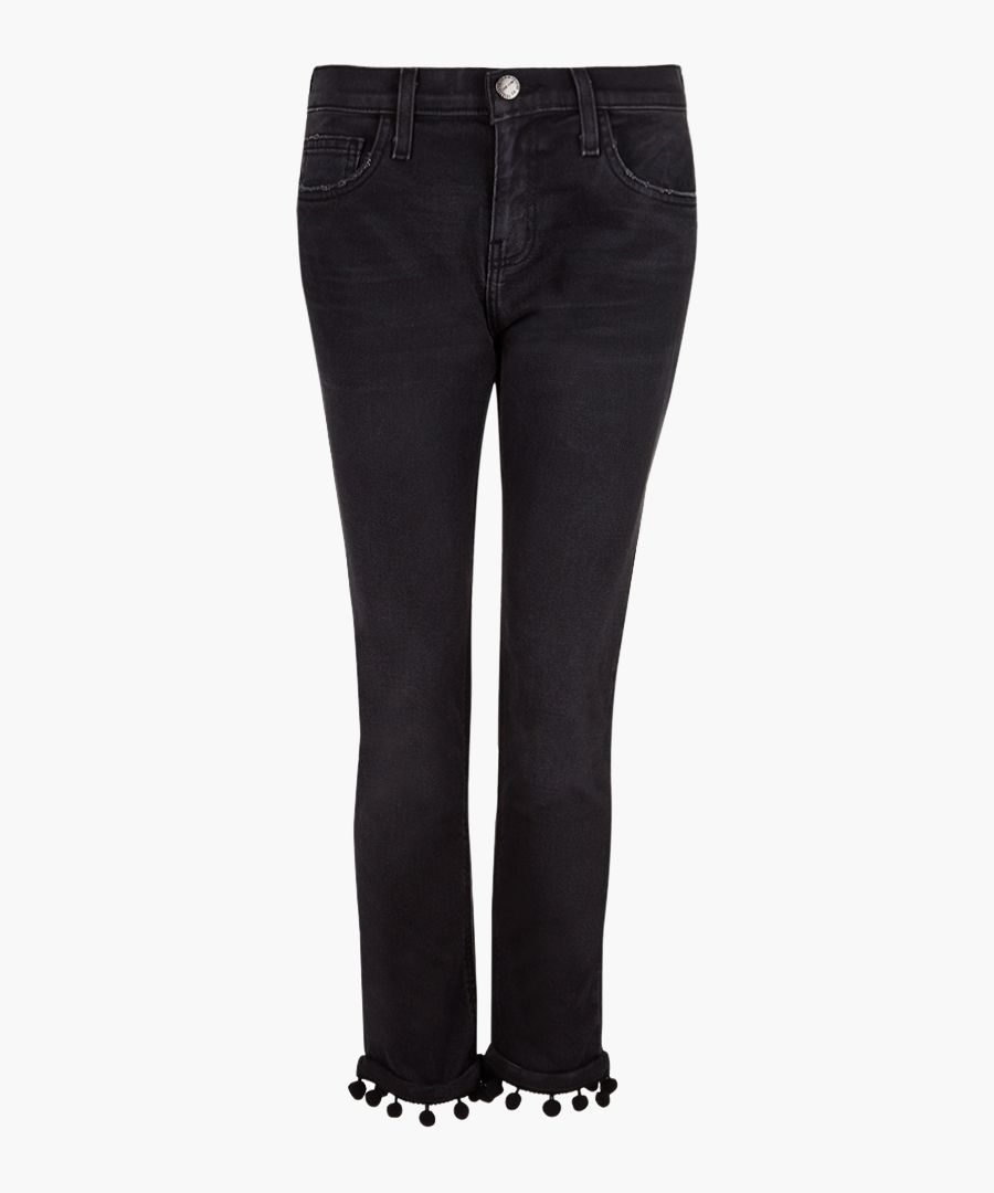 The Cropped black cotton pompom jeans