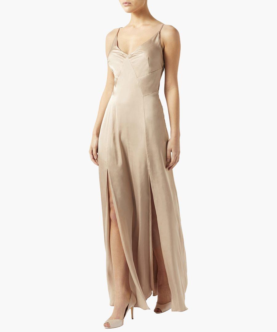 Attina golden split-leg maxi dress