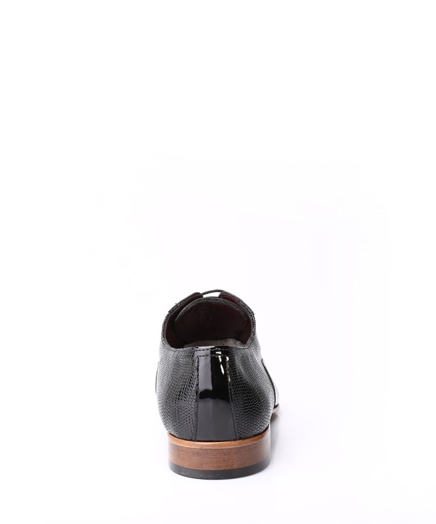 Black leather two-tone Derby shoes