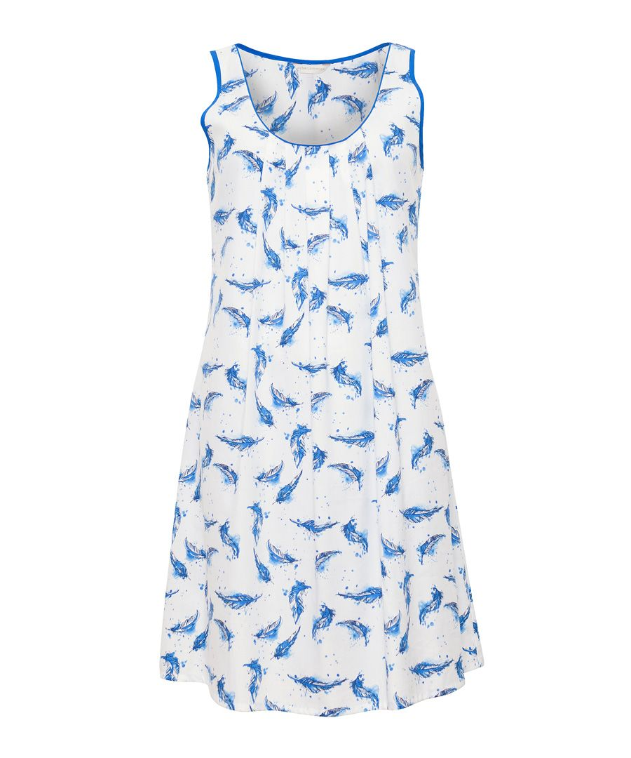 Amelia blue feather cotton-blend print chemise