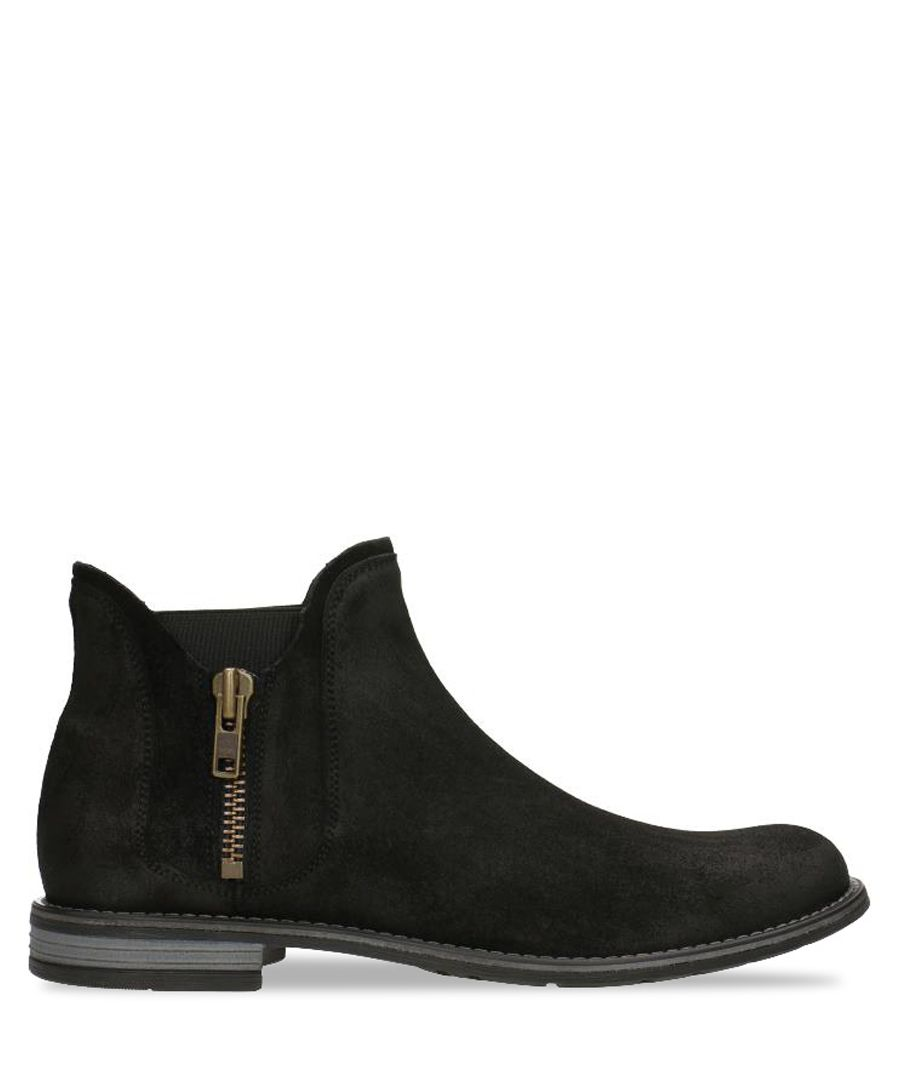 Black suede zip-up ankle boots