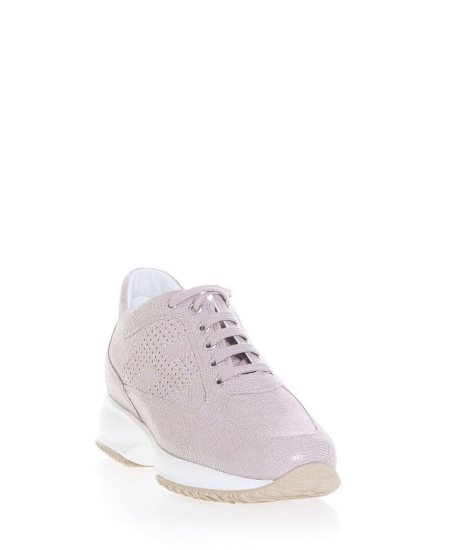 Pink suede snake-effect trainers