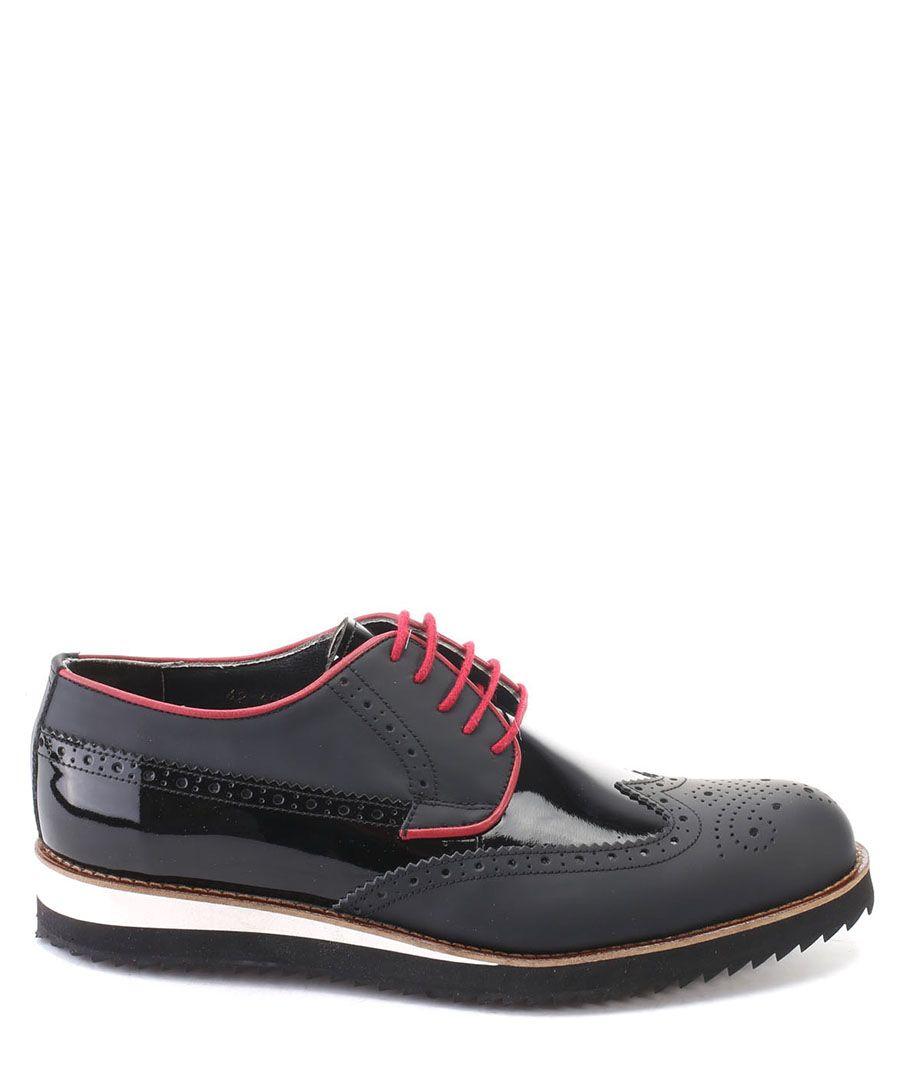 Black patent mix leather Derby Brogue shoes