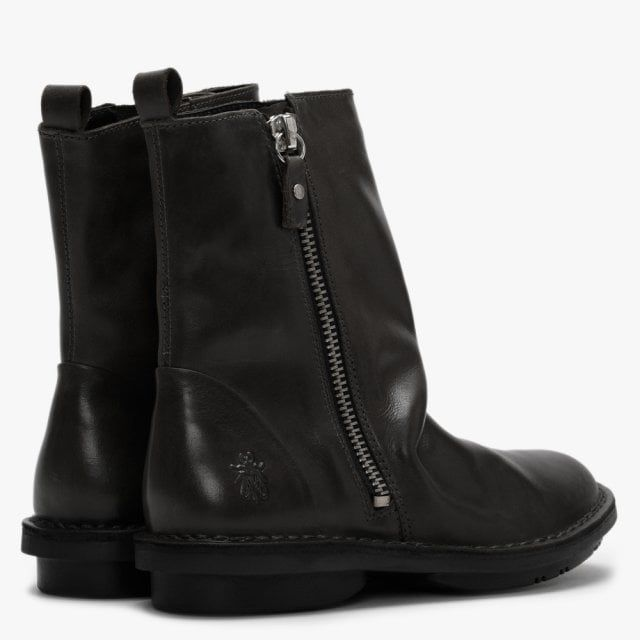 Fly London Fade Ruched Leather Ankle Boots