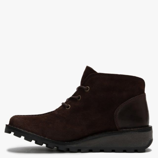Fly London Mili Suede & Leather Low Wedge Ankle Boots