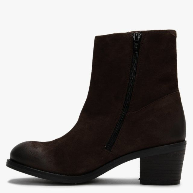Fly London Zent Suede Block Heel Ankle Boots