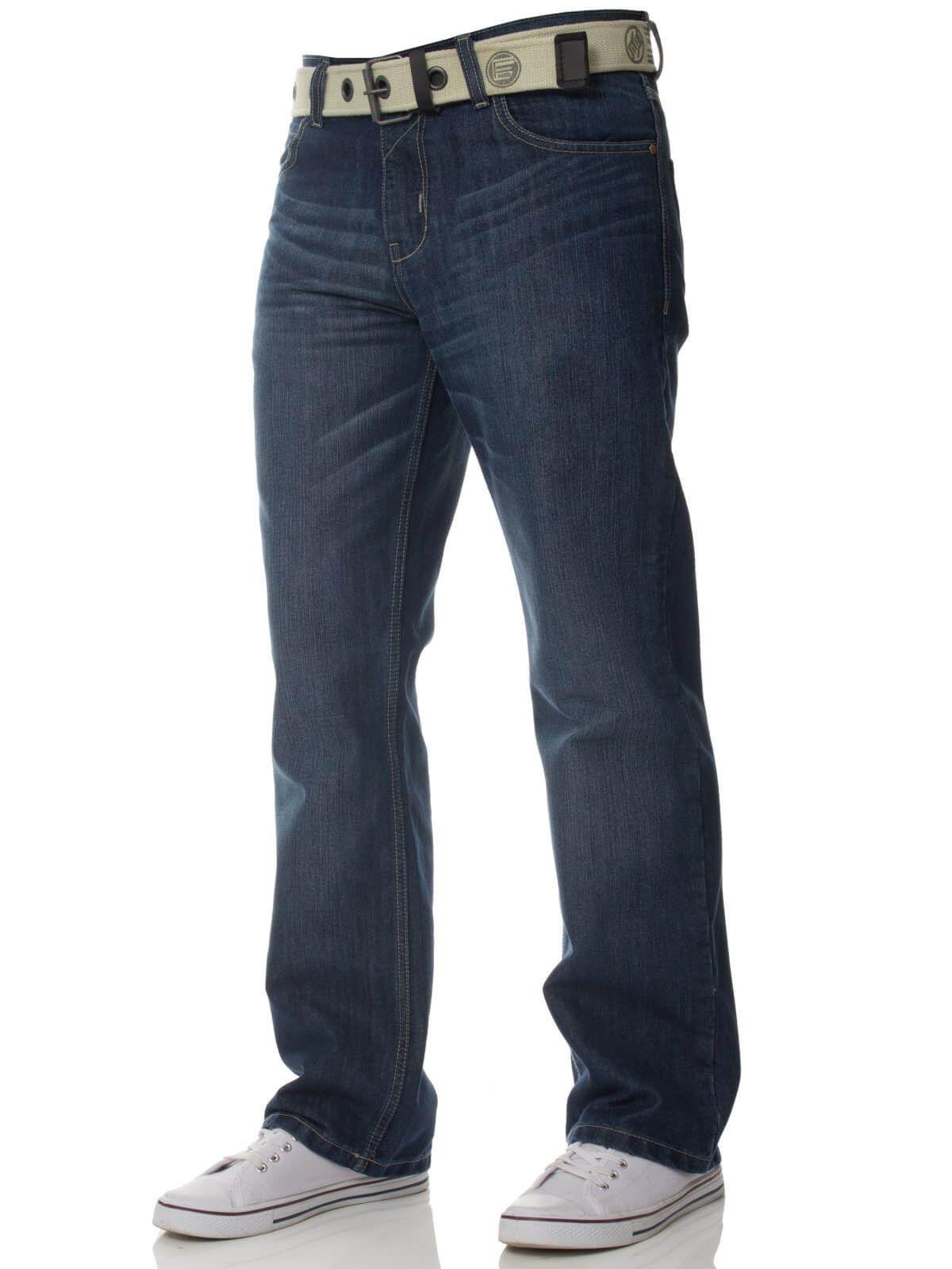 Mens Mid Wash Jeans with Belt EZ15 | Enzo Designer Menswear