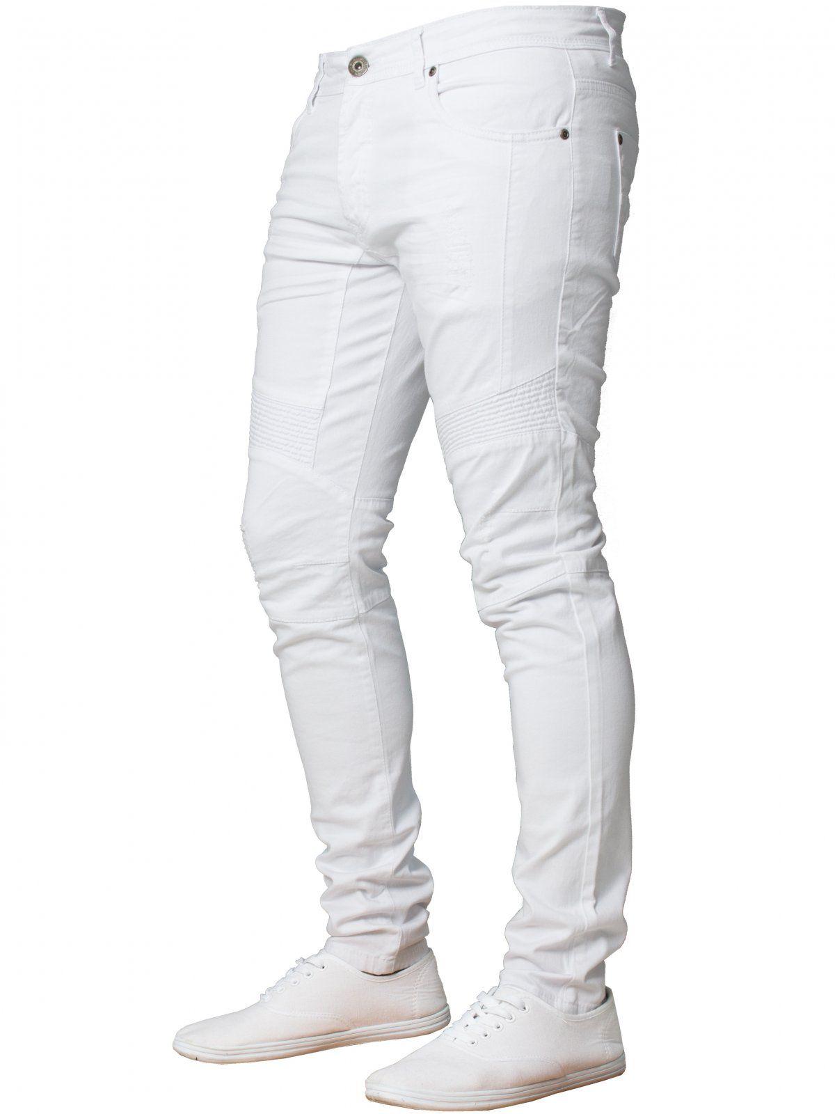 Mens  Super Skinny Stretch Biker Denim Jeans   Enzo Designer Menswear