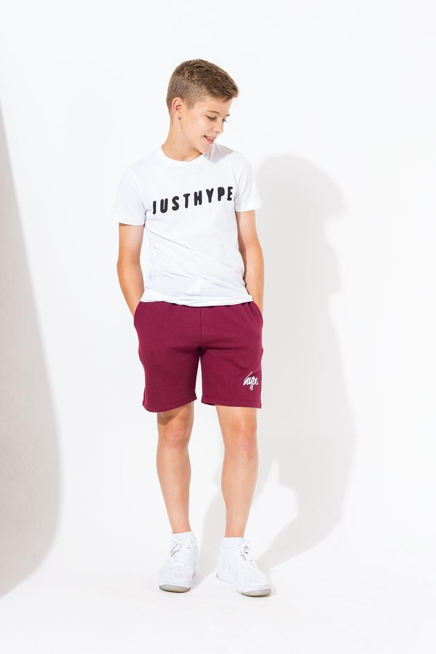Hype Burgundy Script Kids Shorts