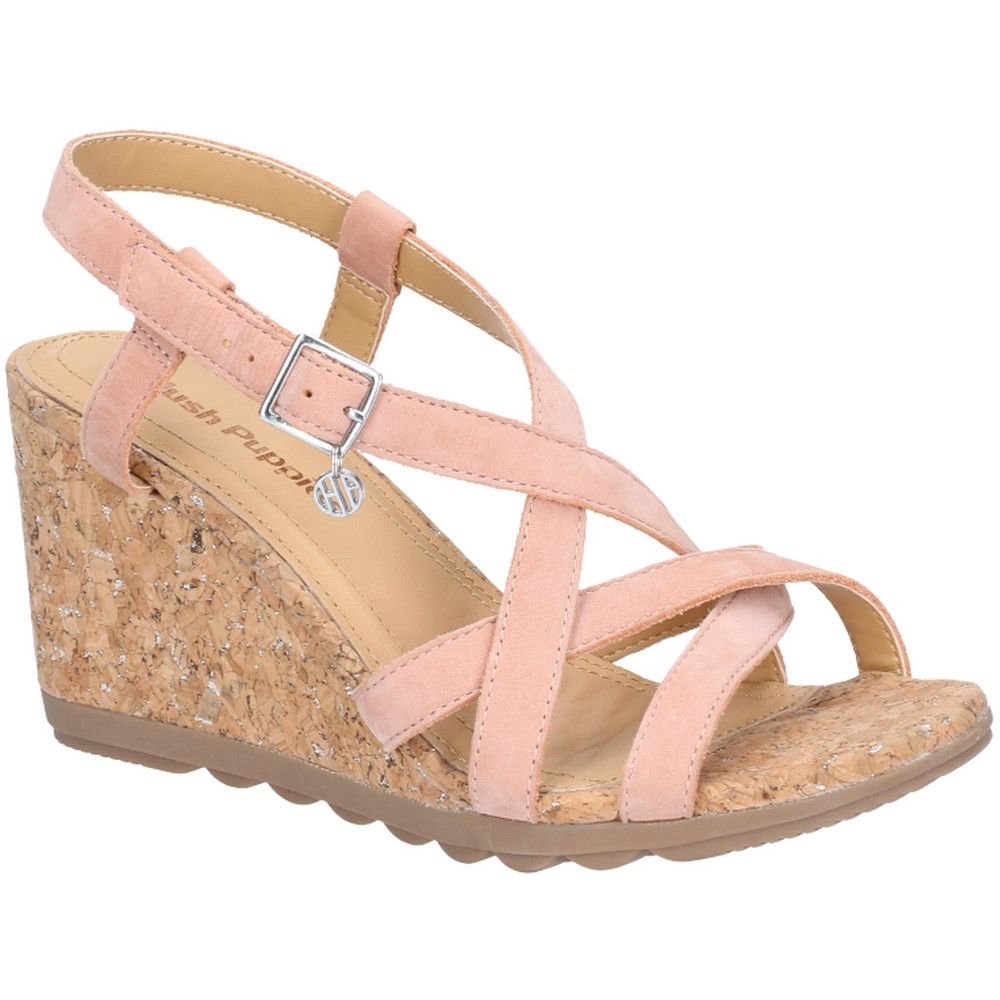 Hush Puppies Womens Pekingese Strappy Wedge Buckle Sandals