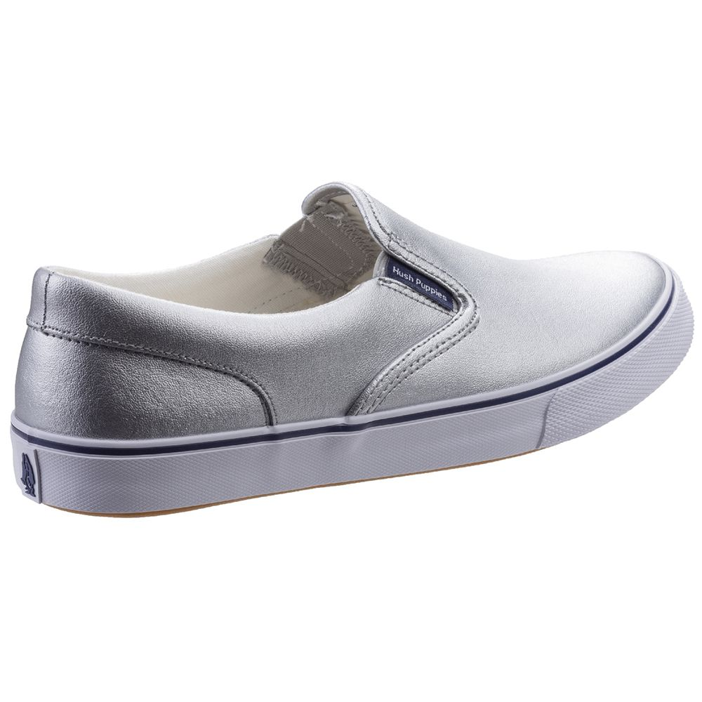 Hush Puppies Womens Byanca Leather Slip On Plimsolls Shoes