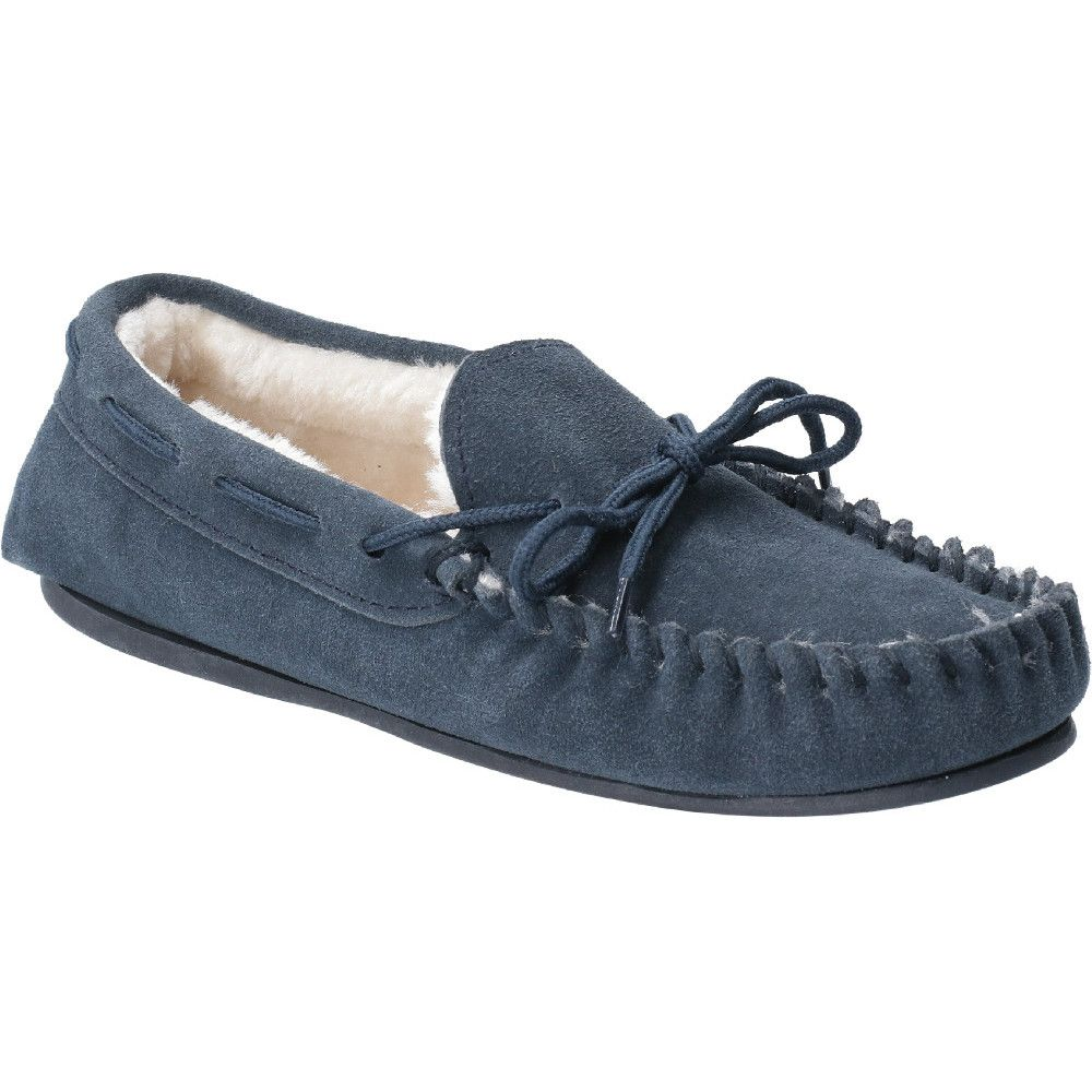Hush Puppies Womens Allie Suede Faux Fur Lined Cozy Slippers