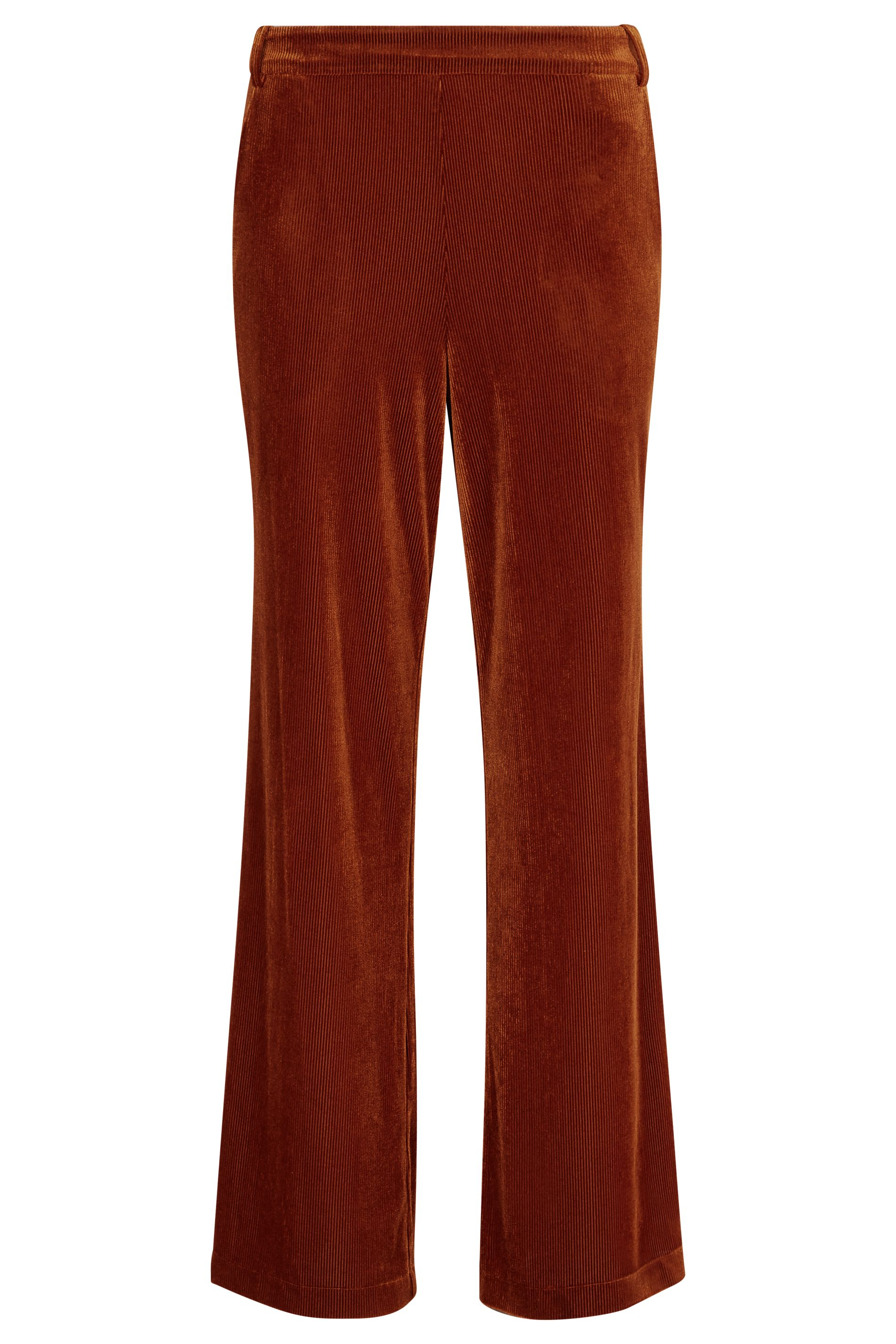 JIC Straight Leg Velvet Trousers in Rust Brown