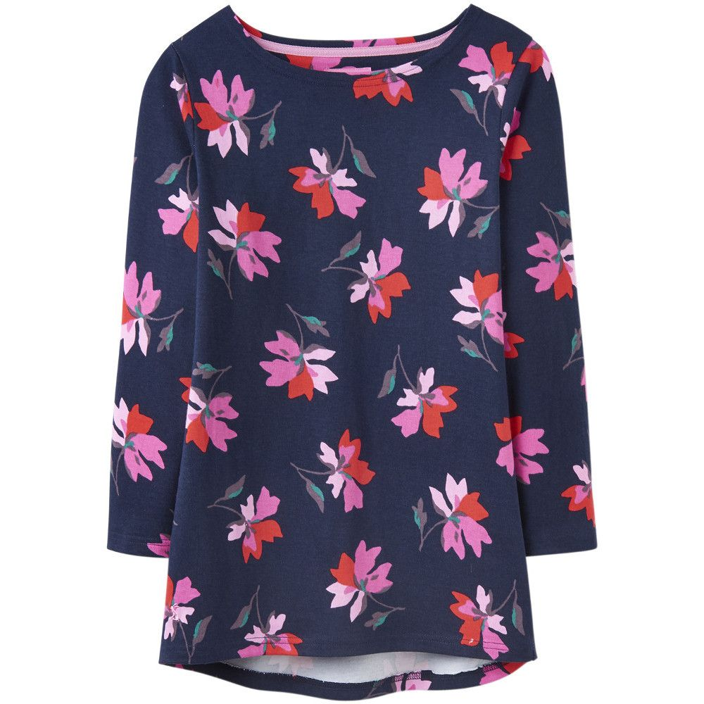 Joules Womens Harbour Printed Long Sleeve Curved Jersey Top