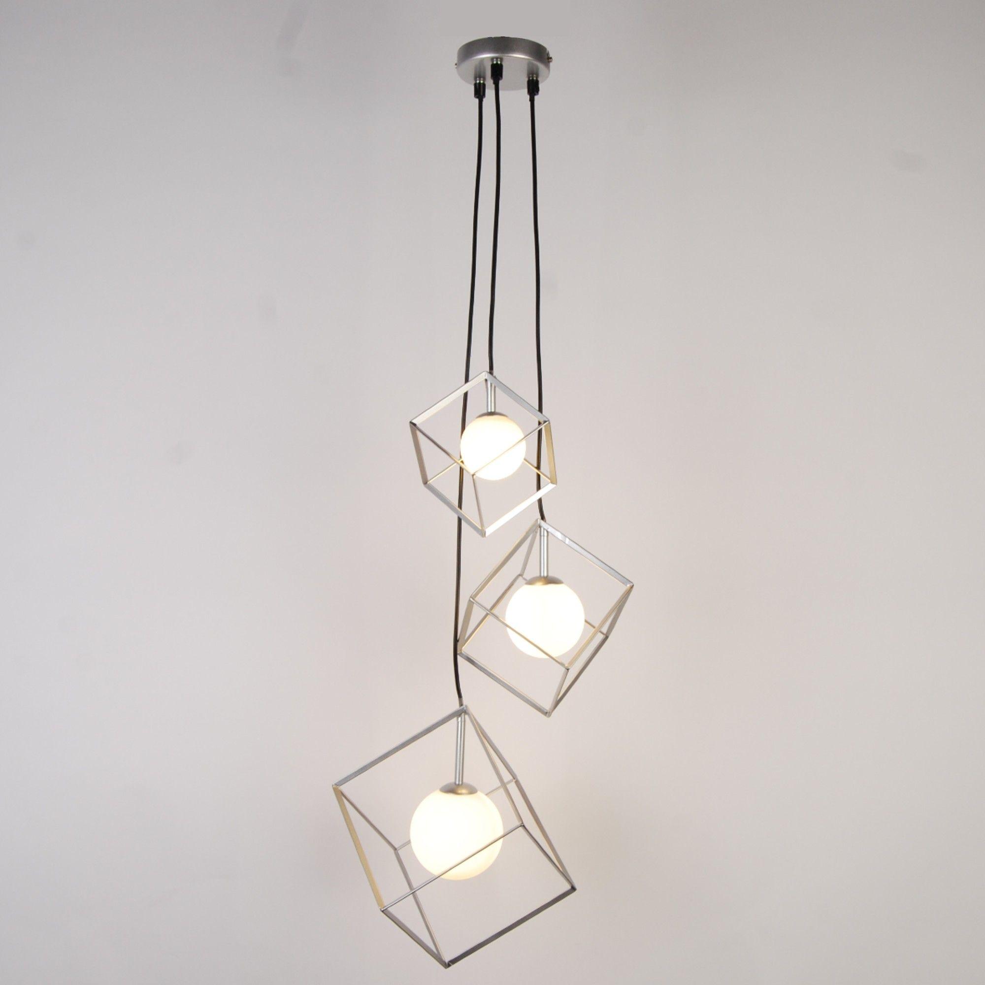 Villem 3 Light Silver Pendant Ceiling Light