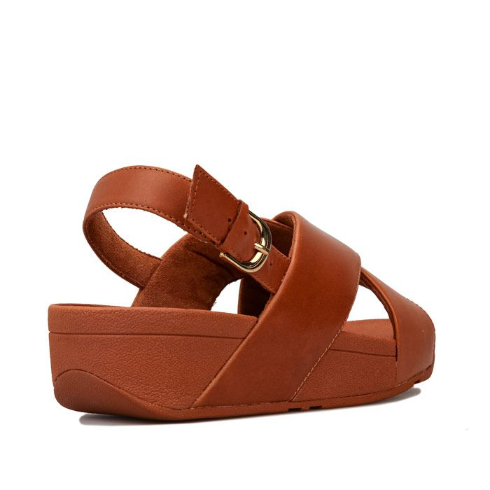 Women's Fit Flop Lulu Leather Cross Back Strap Sandals in Brown