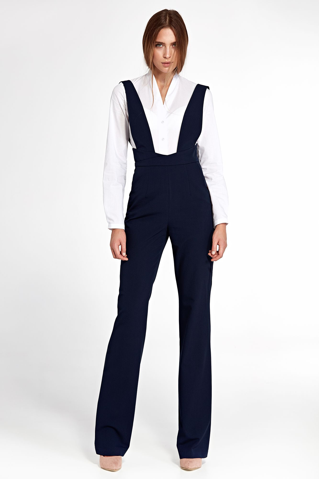 Jumpsuit with suspenders - navy blue