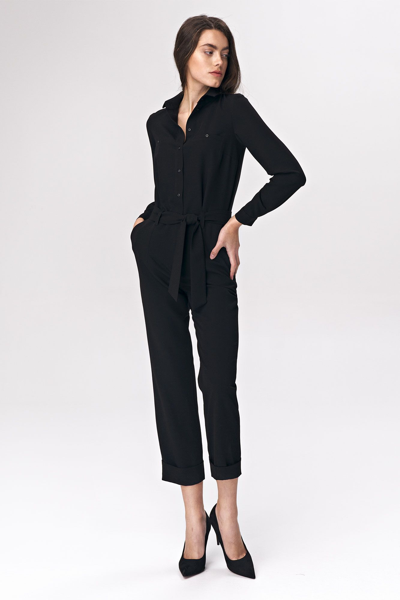 Black jumpsuit with tie