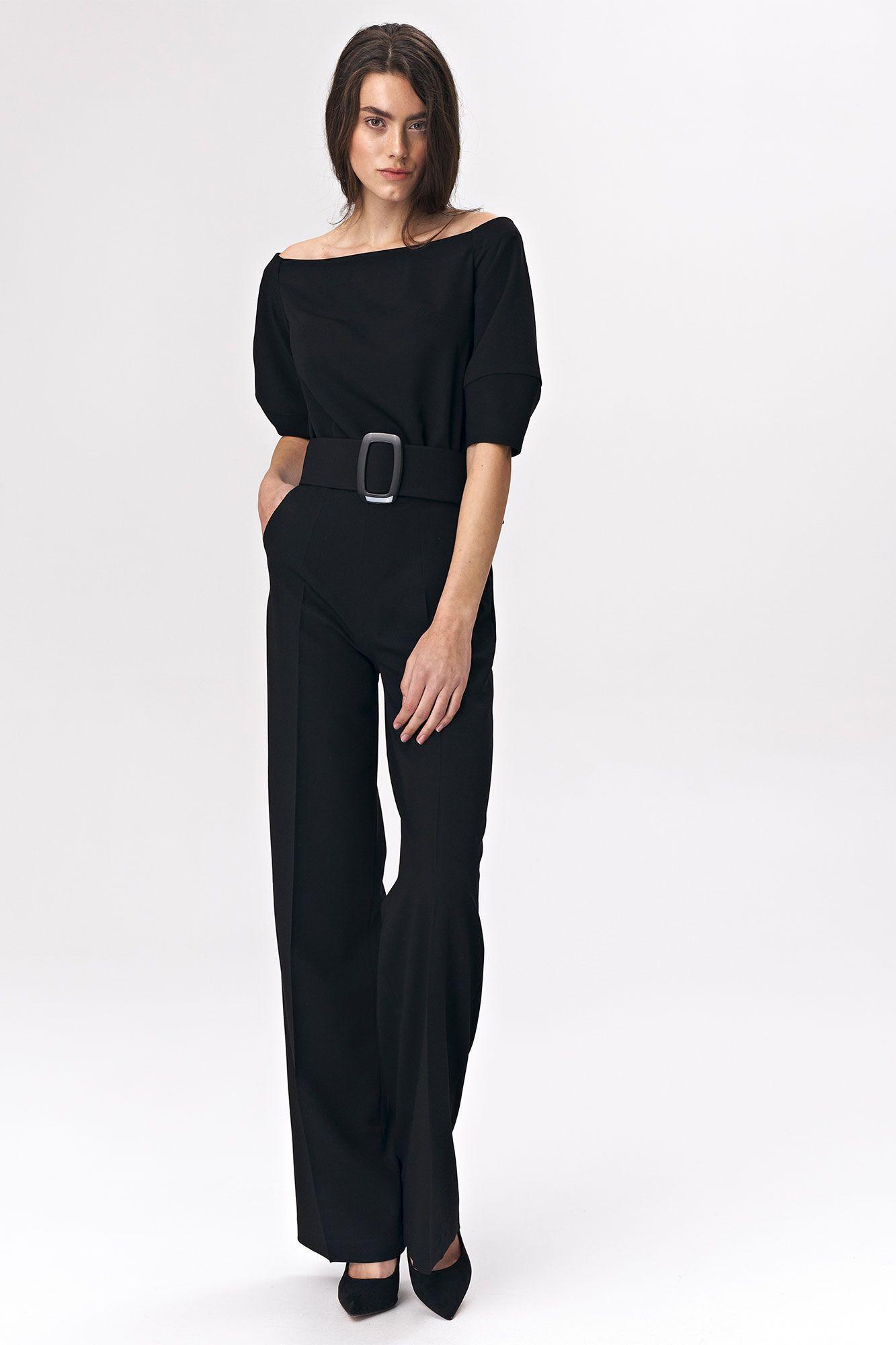 Black jumpsuit with a belt