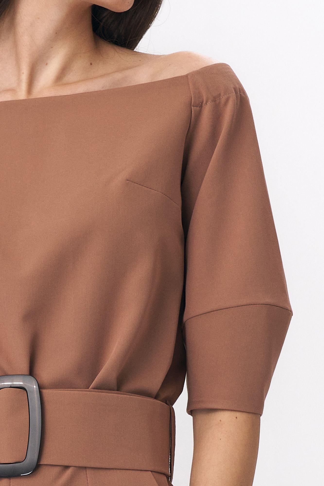 Caramel jumpsuit with a belt