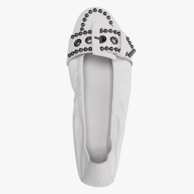 Kennel & Schmenger Malu Leather Studded Buckle Ballet Pumps