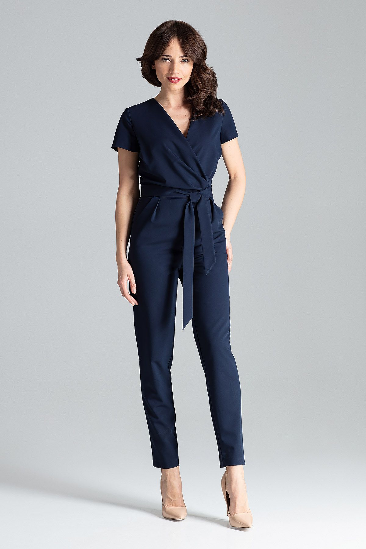 Short-sleeved Jumpsuit With Long Legs