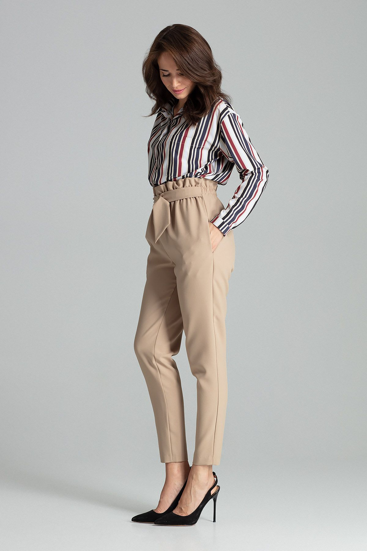 Beige Long Trousers Tapered Down
