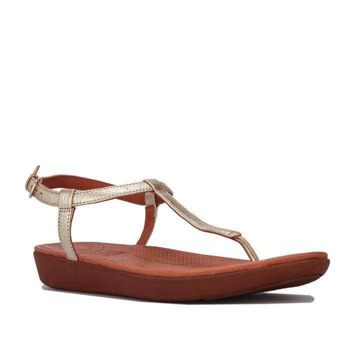 Women's Fit Flop Tia Leather Toe Thong Sandals in Gold