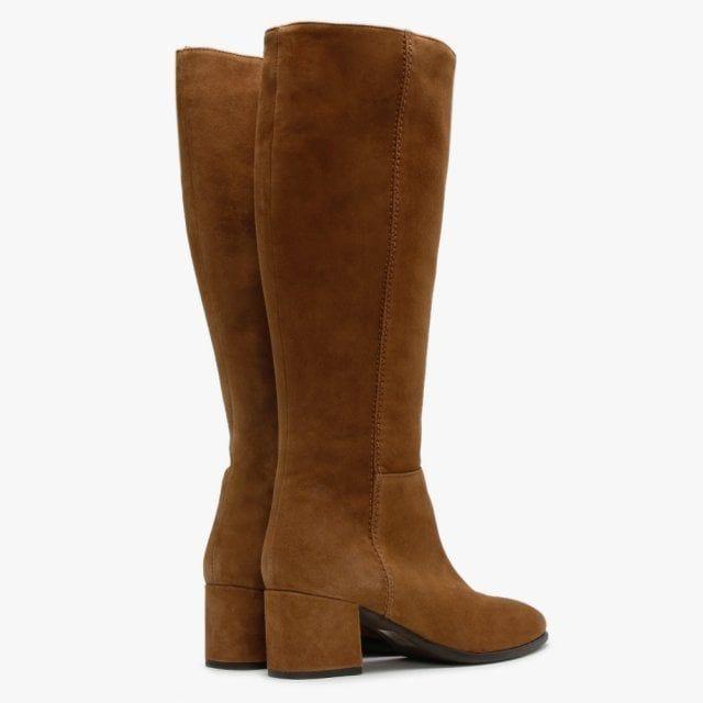 Lamica Suede Low Block Heel Knee Boots