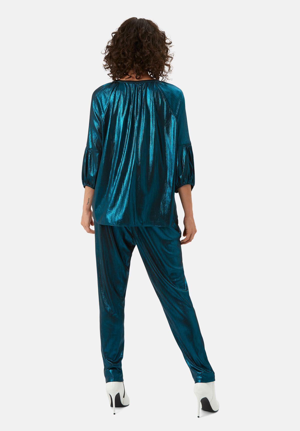 Metallic V Neck Folklore Top In Blue