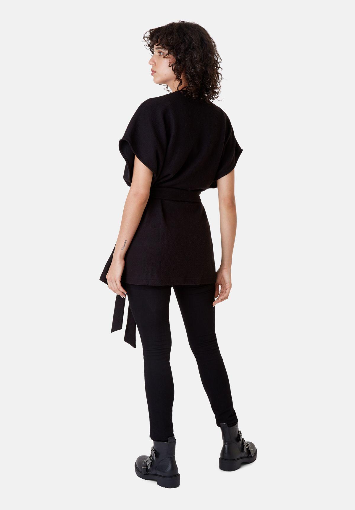 Poncho Sleeveless Wrap Cardigan in Black