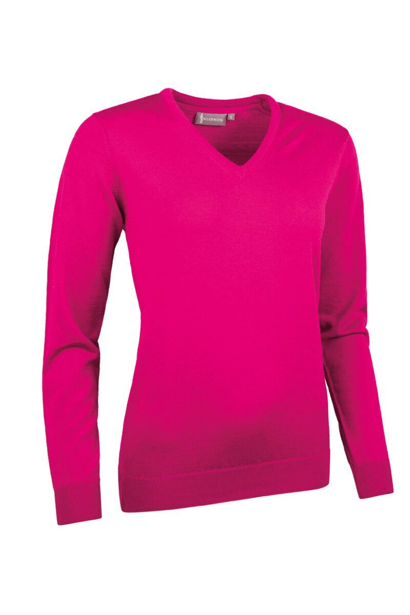 Hot Pink V Neck Jumper