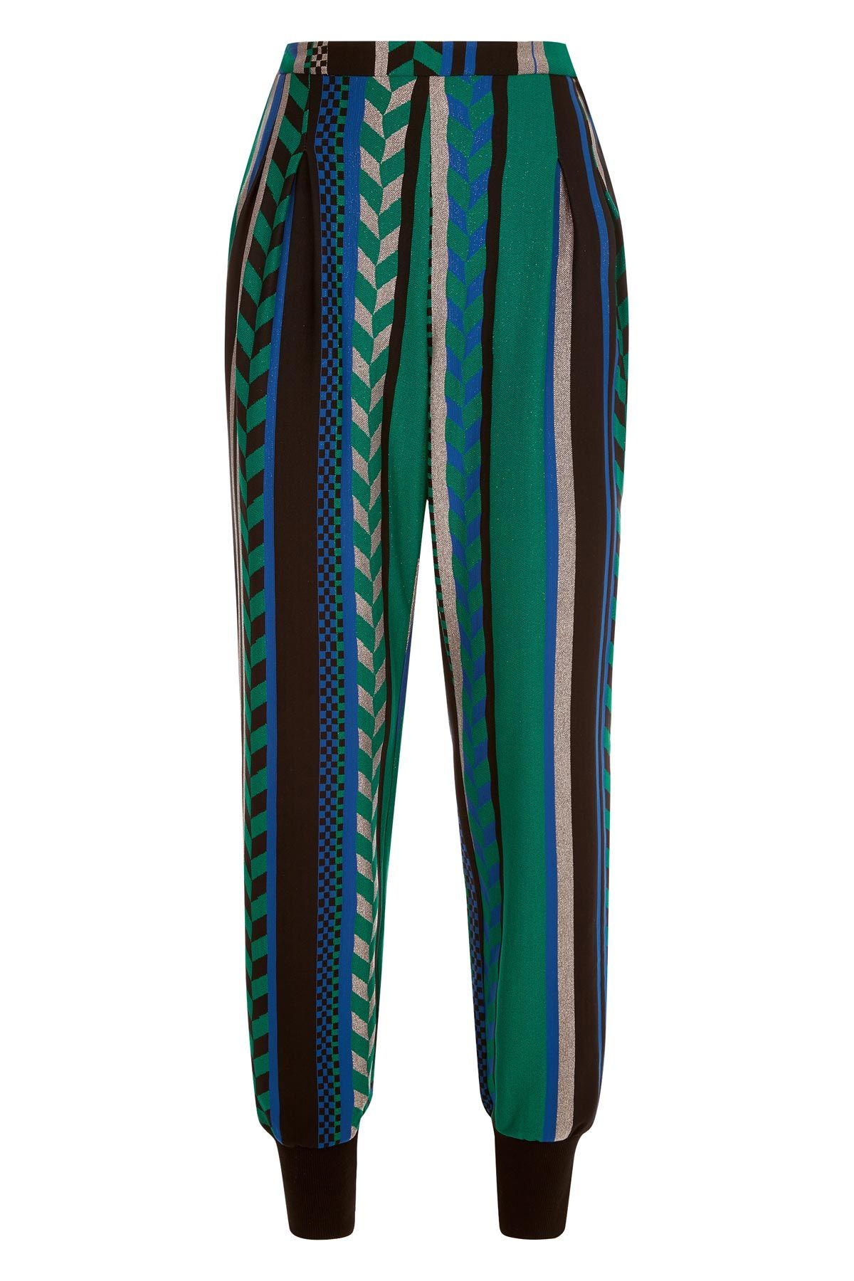 Grace Geometric Trousers in Green