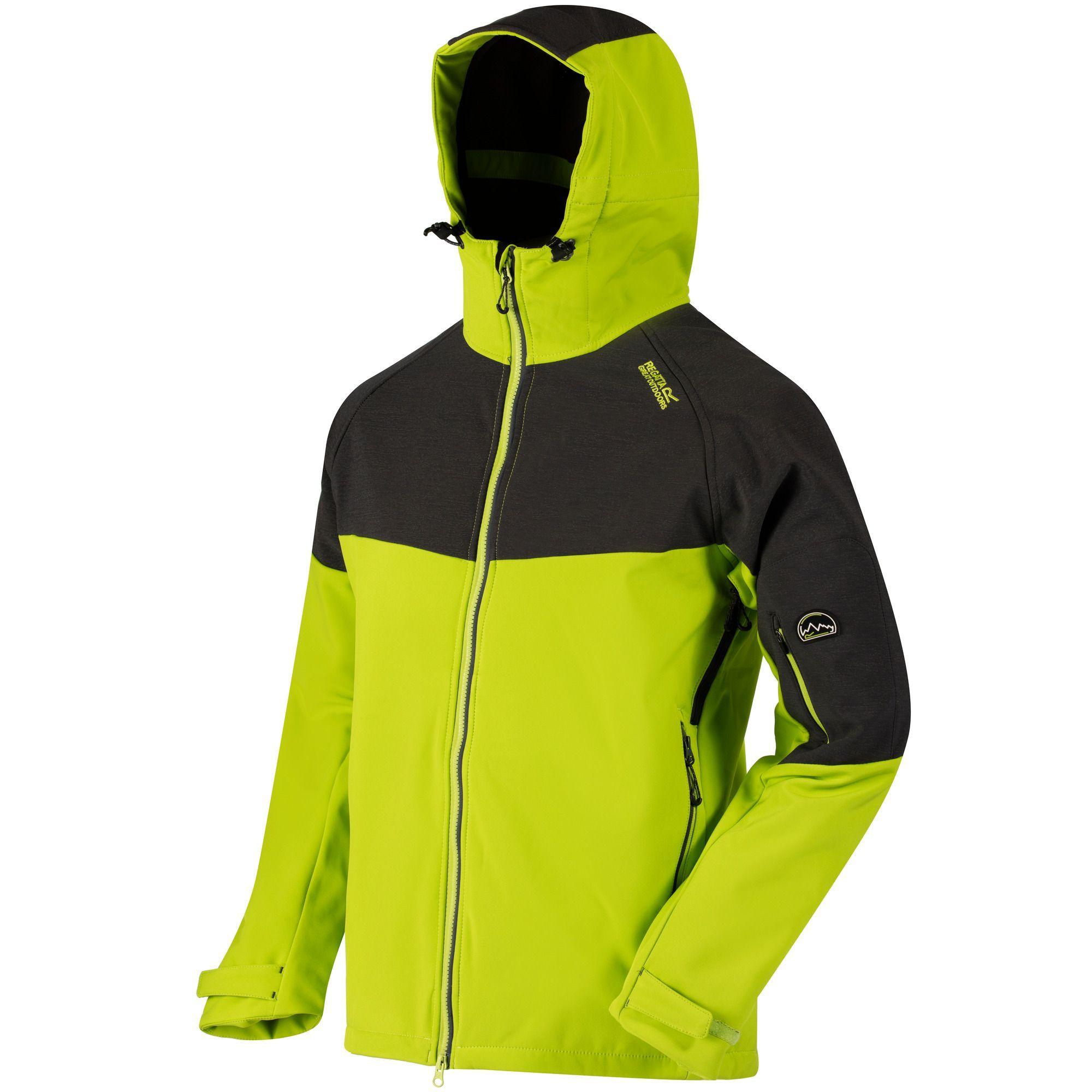 Regatta Great Outdoors Mens Hewitts III Wind Resist Softshell Hooded Reflective Jacket