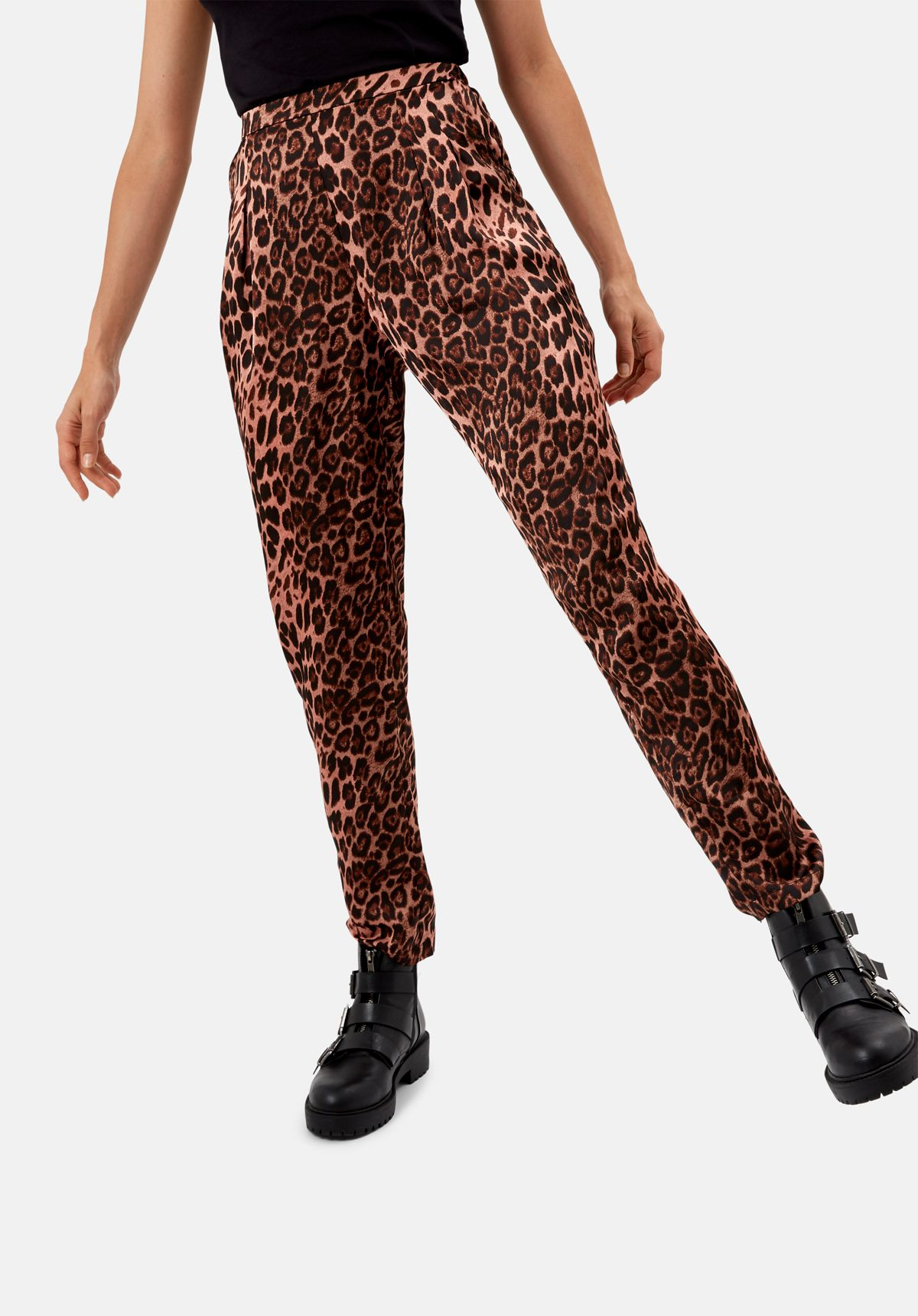 Pink animal print satin tapered trousers