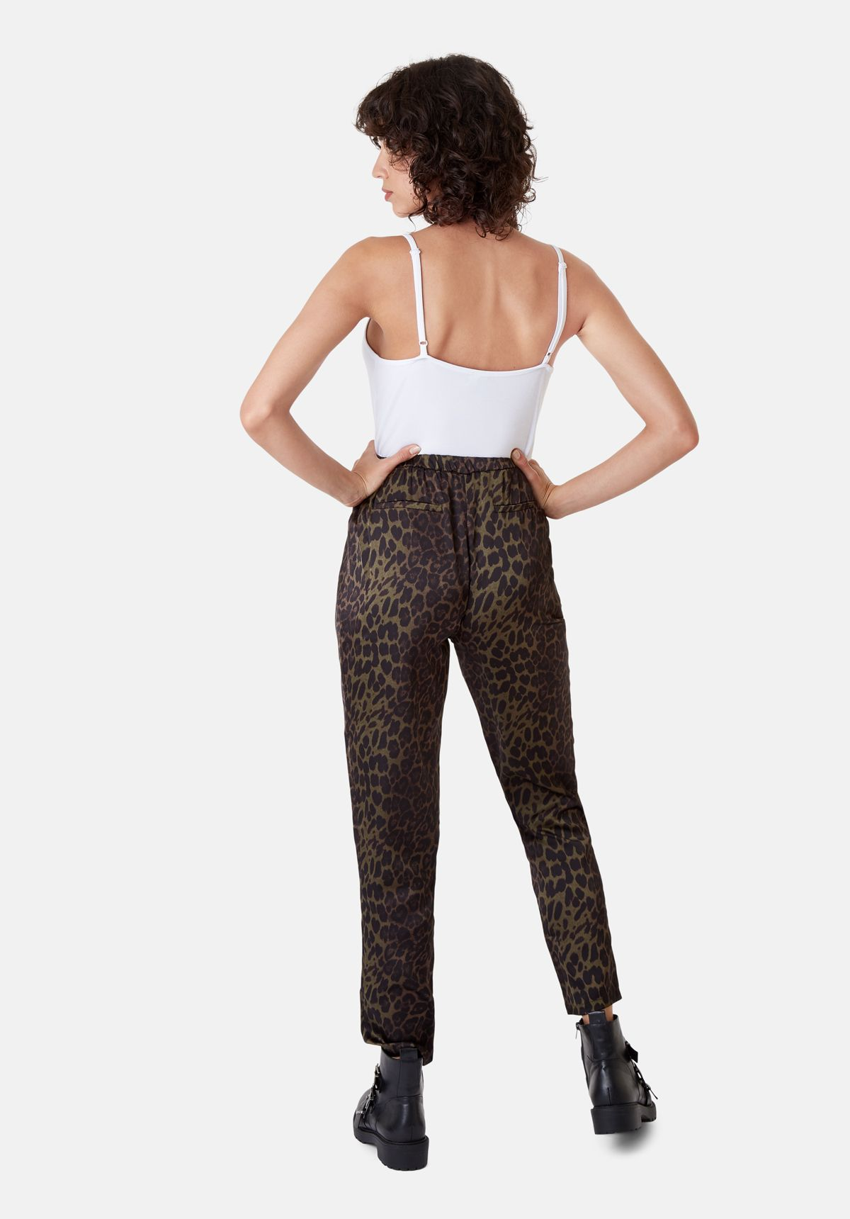 Tapered Animal Print Satin Trousers in Green