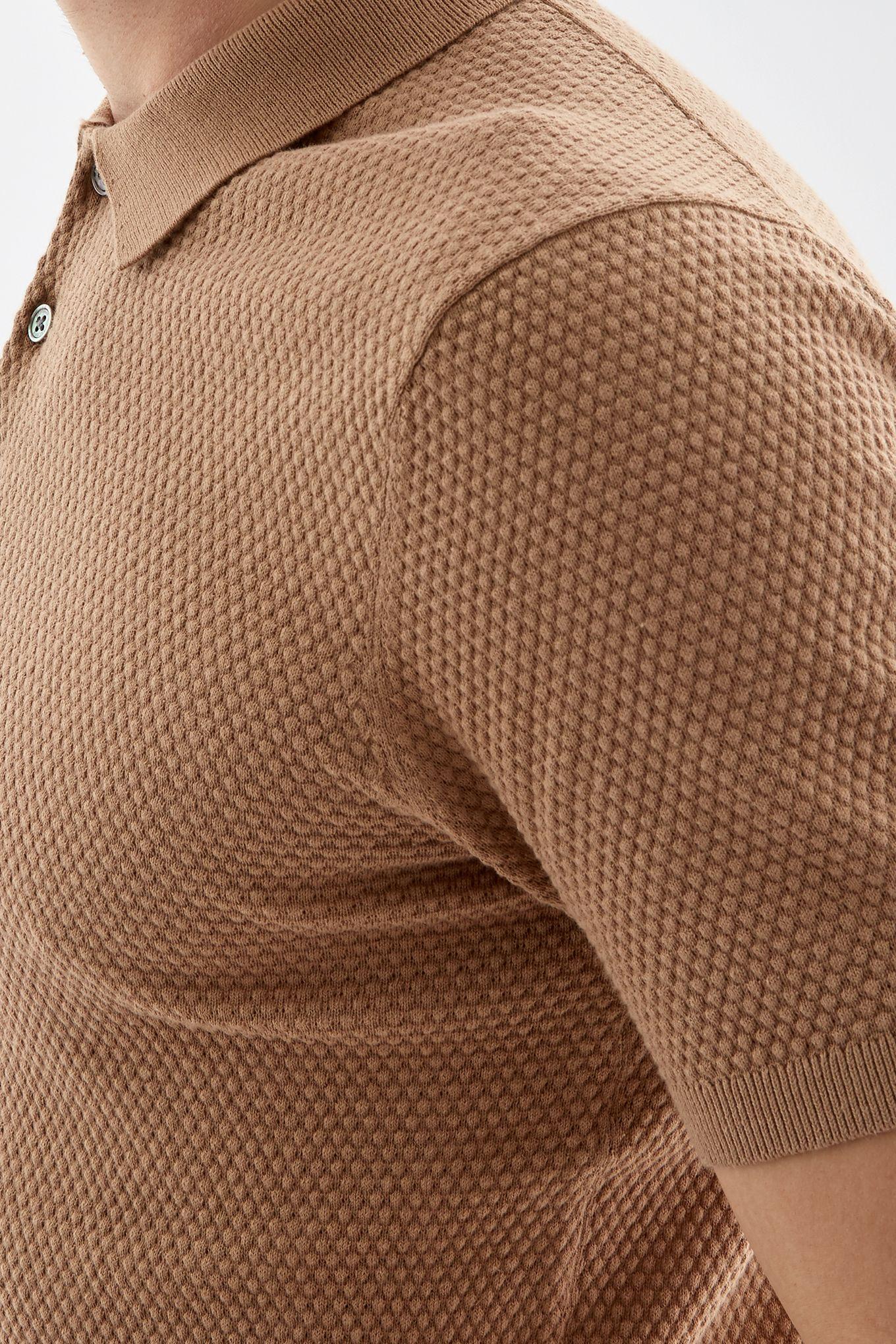 Mens Textured Polo Shirt